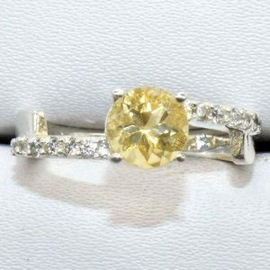 Silver Citrine (1.05ct) Rhodium Plated Ring